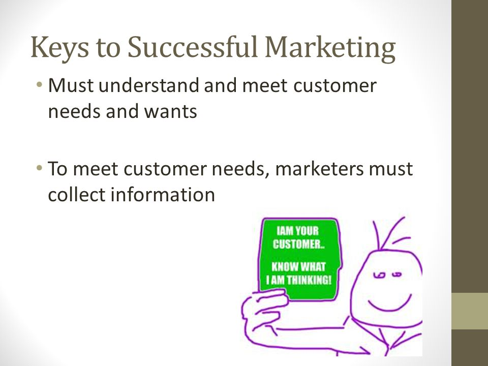Keys to Successful Marketing Must understand and meet customer needs and wants To meet customer needs, marketers must collect information