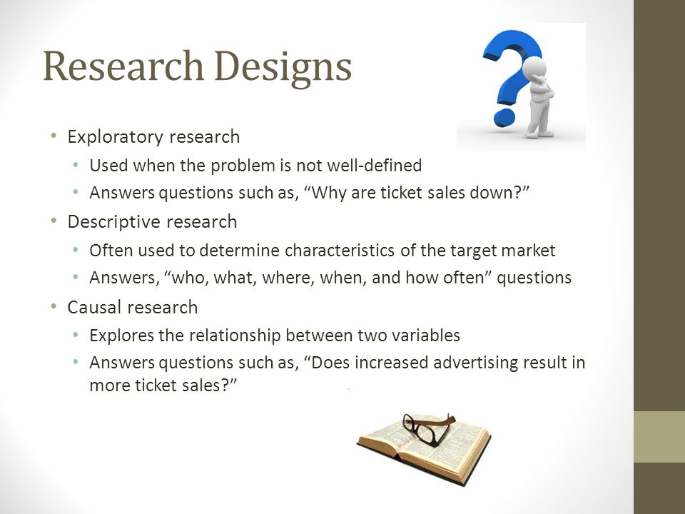 """Research Designs Exploratory research Used when the problem is not well-defined Answers questions such as, """"Why are ticket sales down?"""" Descriptive re"""