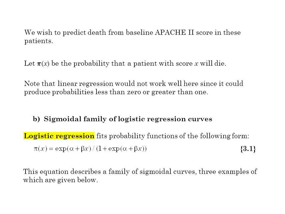 We wish to predict death from baseline APACHE II score in these patients. Note that linear regression would not work well here since it could produce