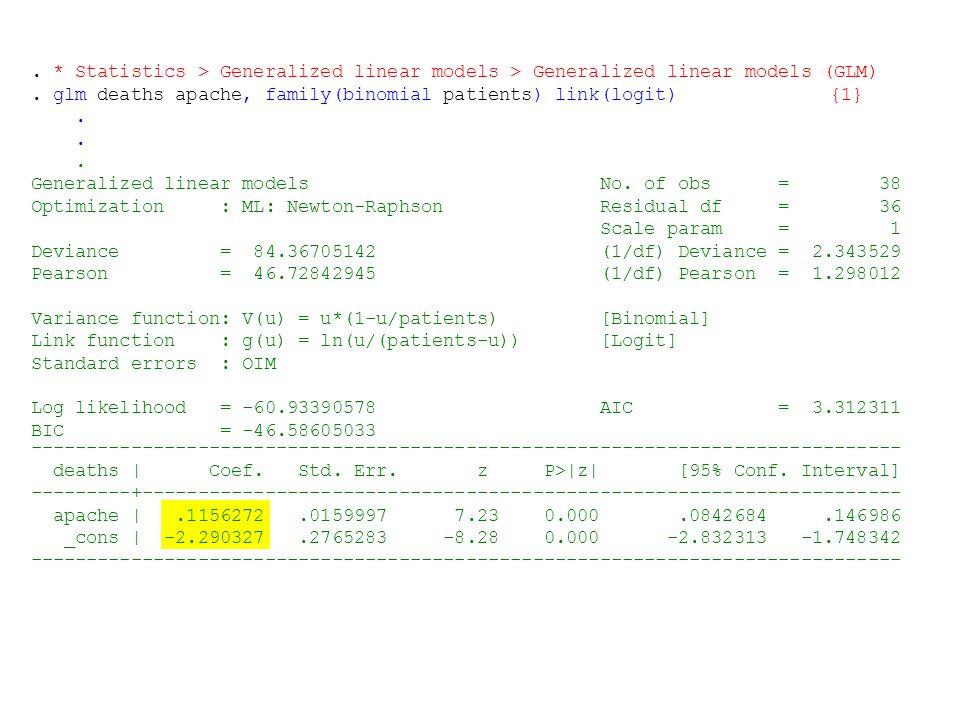 . * Statistics > Generalized linear models > Generalized linear models (GLM). glm deaths apache, family(binomial patients) link(logit){1}. Generalized