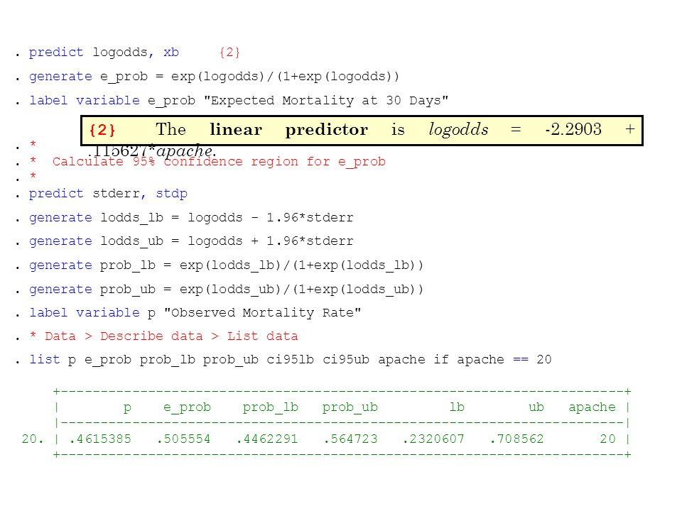 . *. * Calculate 95% confidence region for e_prob. *. predict stderr, stdp. generate lodds_lb = logodds - 1.96*stderr. generate lodds_ub = logodds + 1