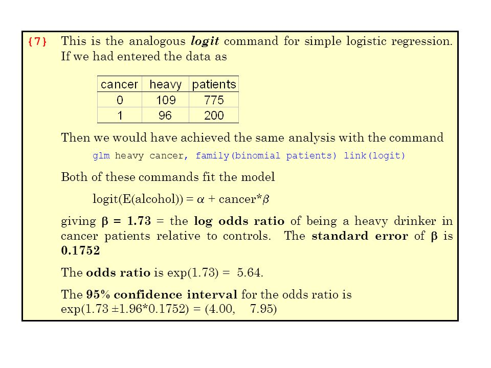 {7} This is the analogous logit command for simple logistic regression. If we had entered the data as Then we would have achieved the same analysis wi