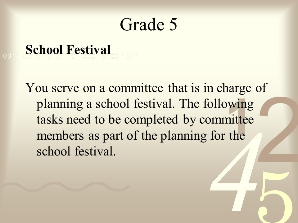 Grade 5 School Festival You serve on a committee that is in charge of planning a school festival.
