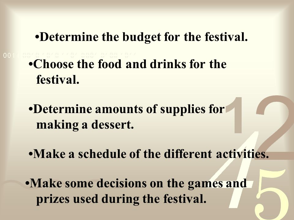 Determine the budget for the festival. Choose the food and drinks for the festival.