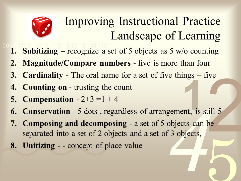 Improving Instructional Practice Landscape of Learning 1.Subitizing – recognize a set of 5 objects as 5 w/o counting 2.Magnitude/Compare numbers - five is more than four 3.Cardinality - The oral name for a set of five things – five 4.Counting on - trusting the count 5.Compensation - 2+3 =1 + 4 6.Conservation - 5 dots, regardless of arrangement, is still 5 7.Composing and decomposing - a set of 5 objects can be separated into a set of 2 objects and a set of 3 objects, 8.Unitizing - - concept of place value