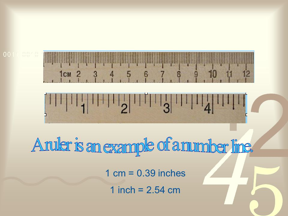 1 cm = 0.39 inches 1 inch = 2.54 cm