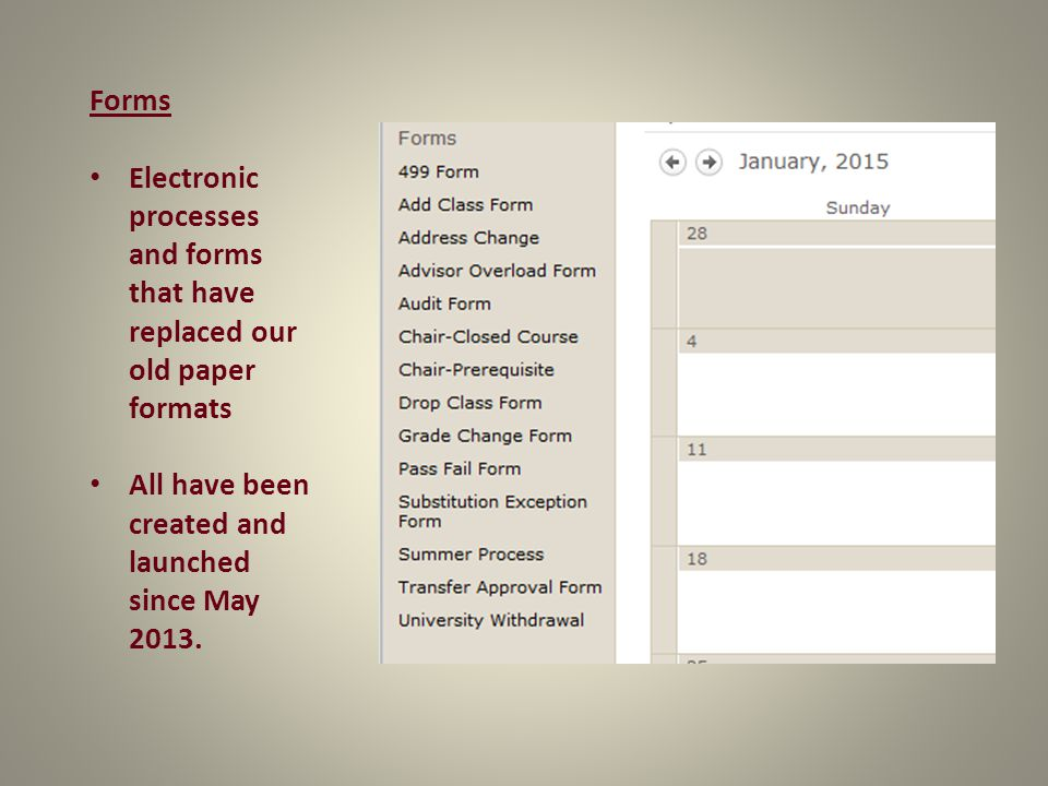 Forms Electronic processes and forms that have replaced our old paper formats All have been created and launched since May 2013.