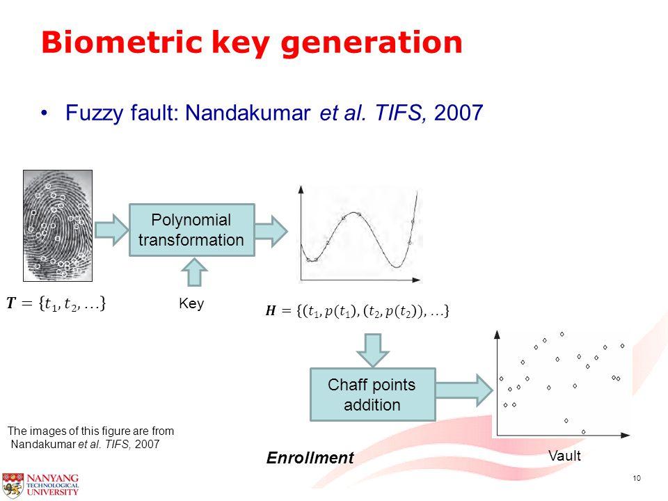 10 Biometric key generation Fuzzy fault: Nandakumar et al.