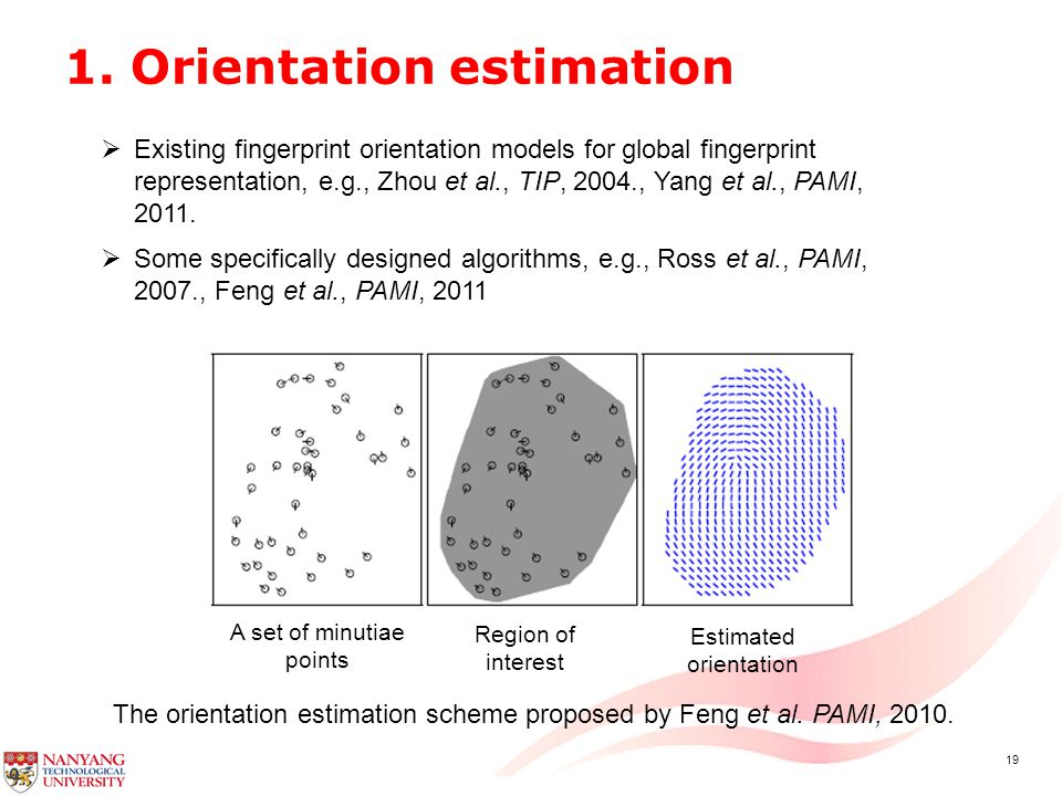 19 1.Orientation estimation The orientation estimation scheme proposed by Feng et al.
