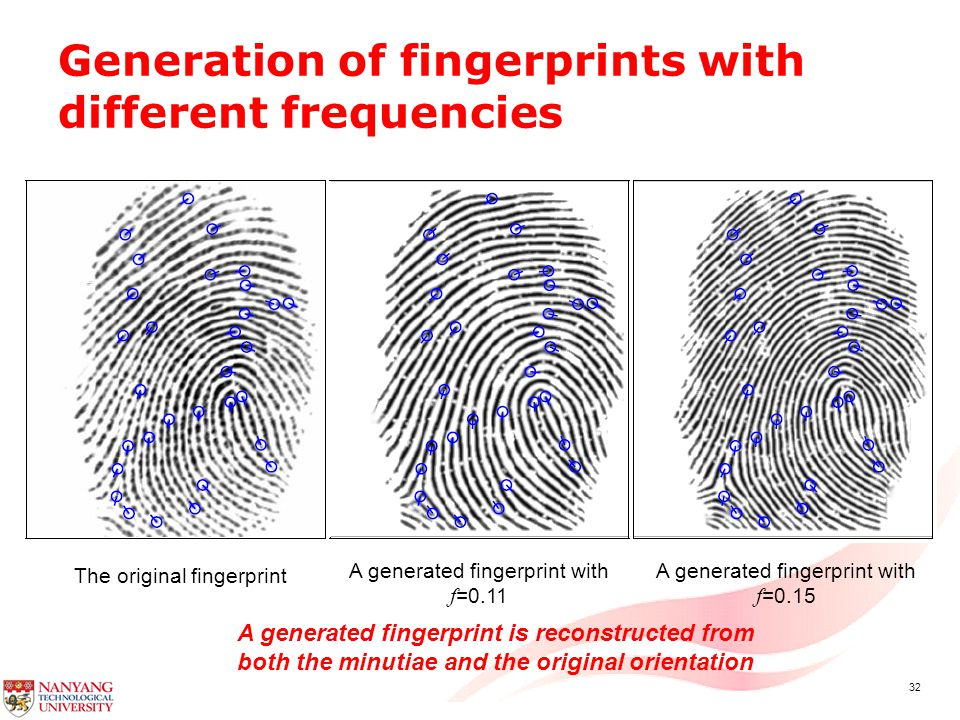 32 Generation of fingerprints with different frequencies The original fingerprint A generated fingerprint with f =0.11 A generated fingerprint is reconstructed from both the minutiae and the original orientation A generated fingerprint with f =0.15
