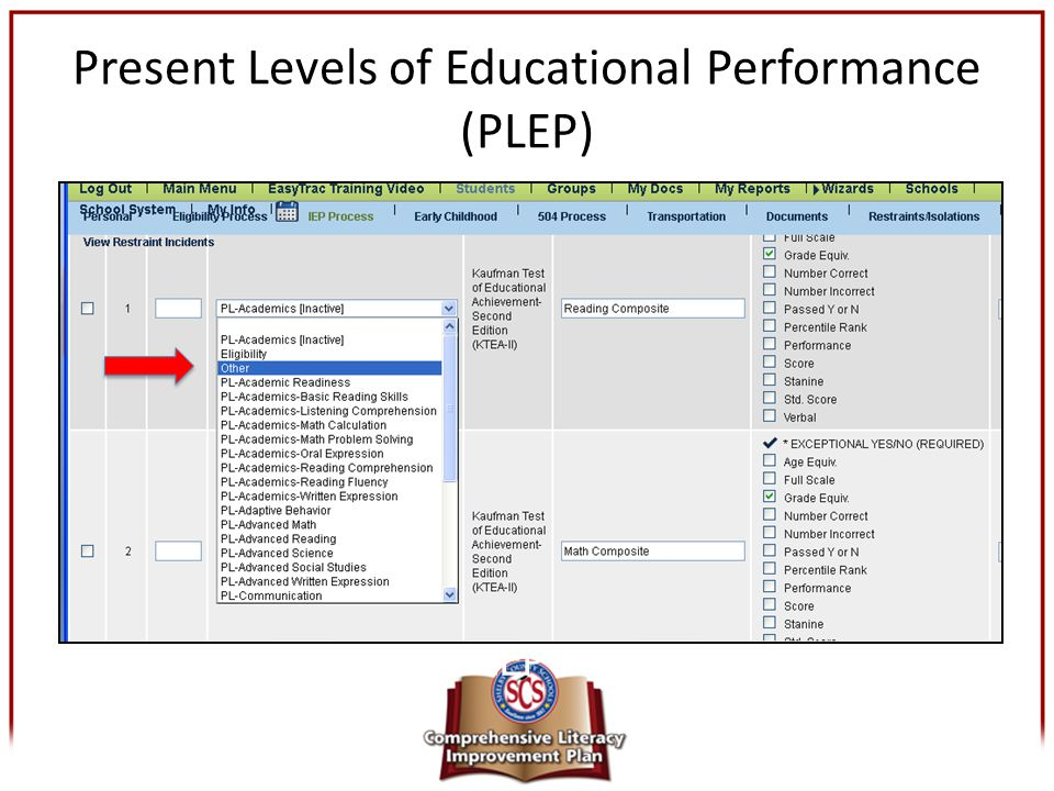Present Levels of Educational Performance (PLEP) The foundation of the IEP