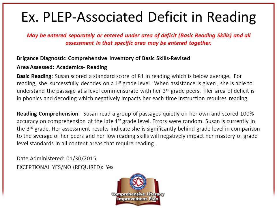 Ex. PLEP-Associated Deficit in Reading May be entered separately or entered under area of deficit (Basic Reading Skills) and all assessment in that sp