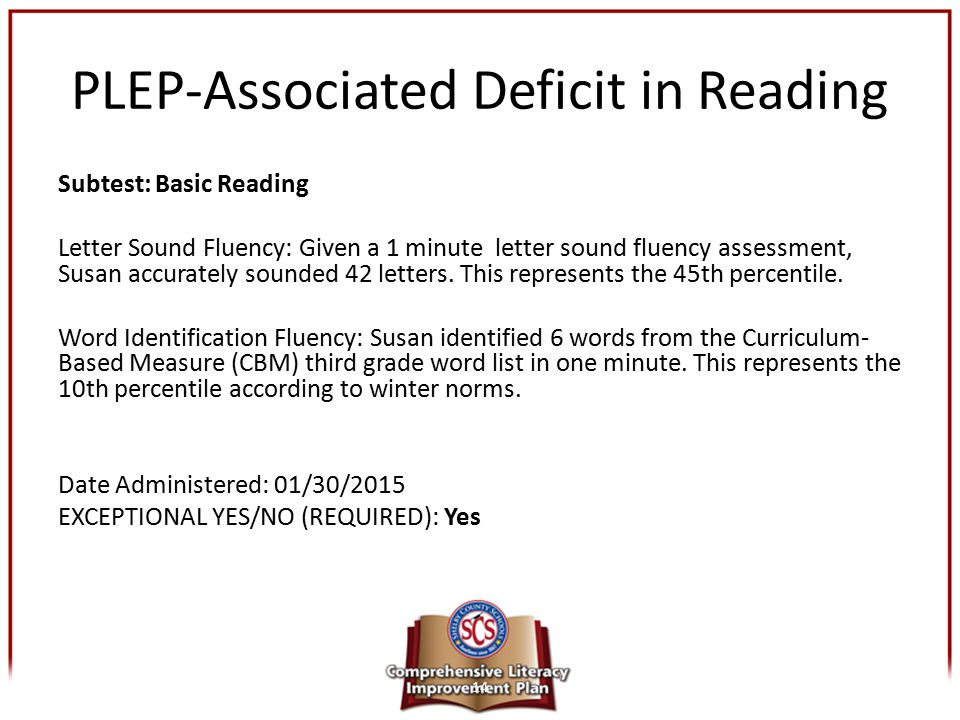 PLEP-Associated Deficit in Reading Subtest: Basic Reading Letter Sound Fluency: Given a 1 minute letter sound fluency assessment, Susan accurately sou