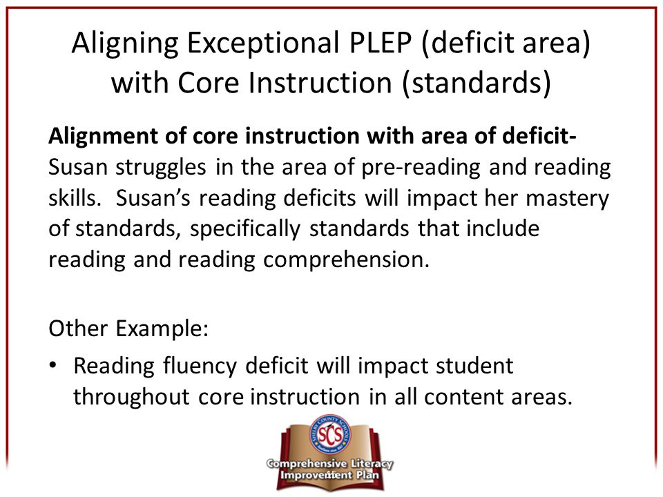 Aligning Exceptional PLEP (deficit area) with Core Instruction (standards) Alignment of core instruction with area of deficit- Susan struggles in the
