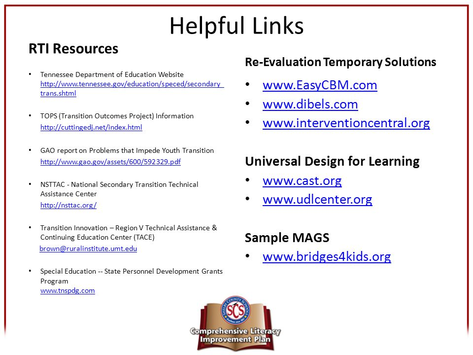 Helpful Links RTI Resources Tennessee Department of Education Website http://www.tennessee.gov/education/speced/secondary_ trans.shtml http://www.tenn
