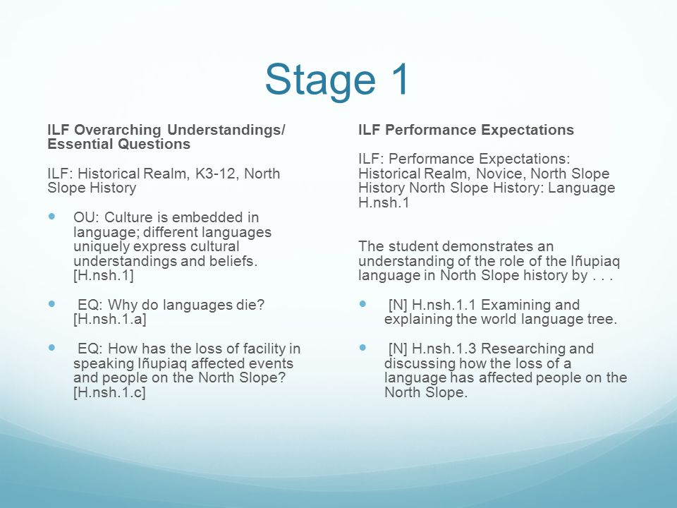 Stage 1 ILF Overarching Understandings/ Essential Questions ILF: Historical Realm, K3-12, North Slope History OU: Culture is embedded in language; dif