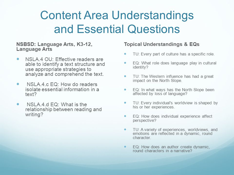 Content Area Understandings and Essential Questions NSBSD: Language Arts, K3-12, Language Arts NSLA.4 OU: Effective readers are able to identify a tex