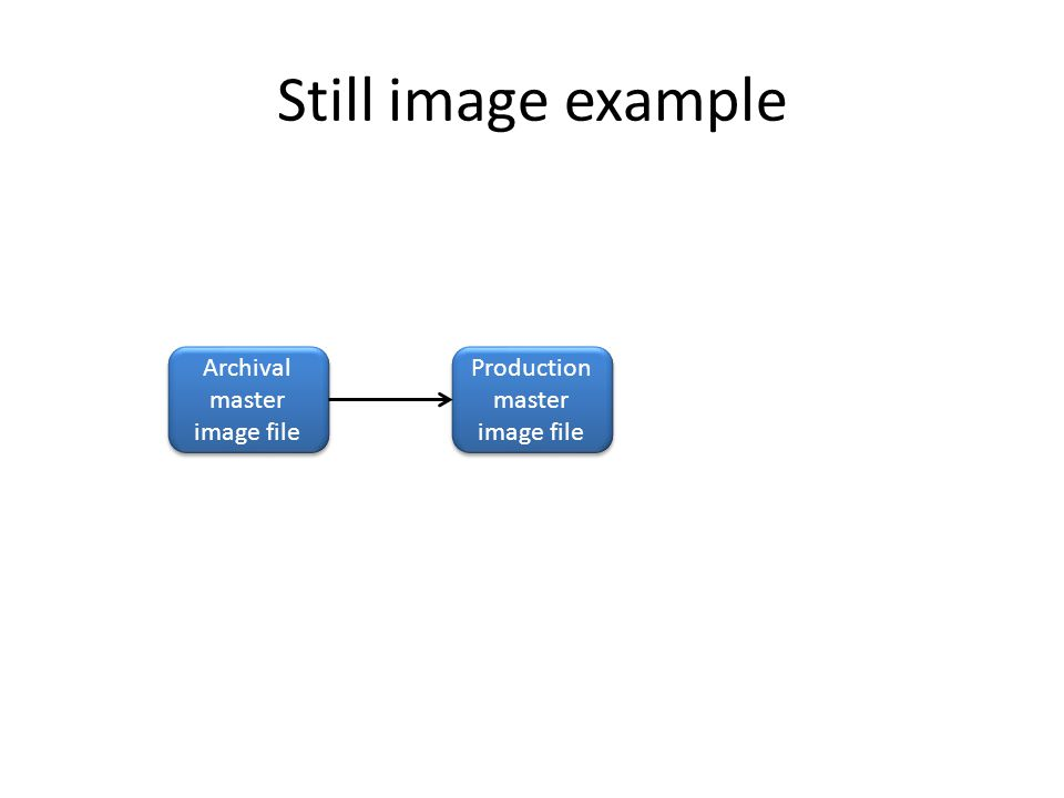 Still image example Archival master image file Production master image file