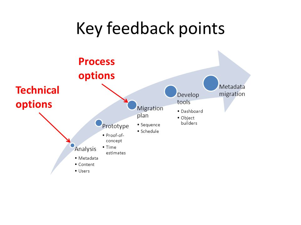 Key feedback points Analysis Metadata Content Users Prototype Proof-of- concept Time estimates Migration plan Sequence Schedule Develop tools Dashboard Object builders Metadata migration Technical options Process options