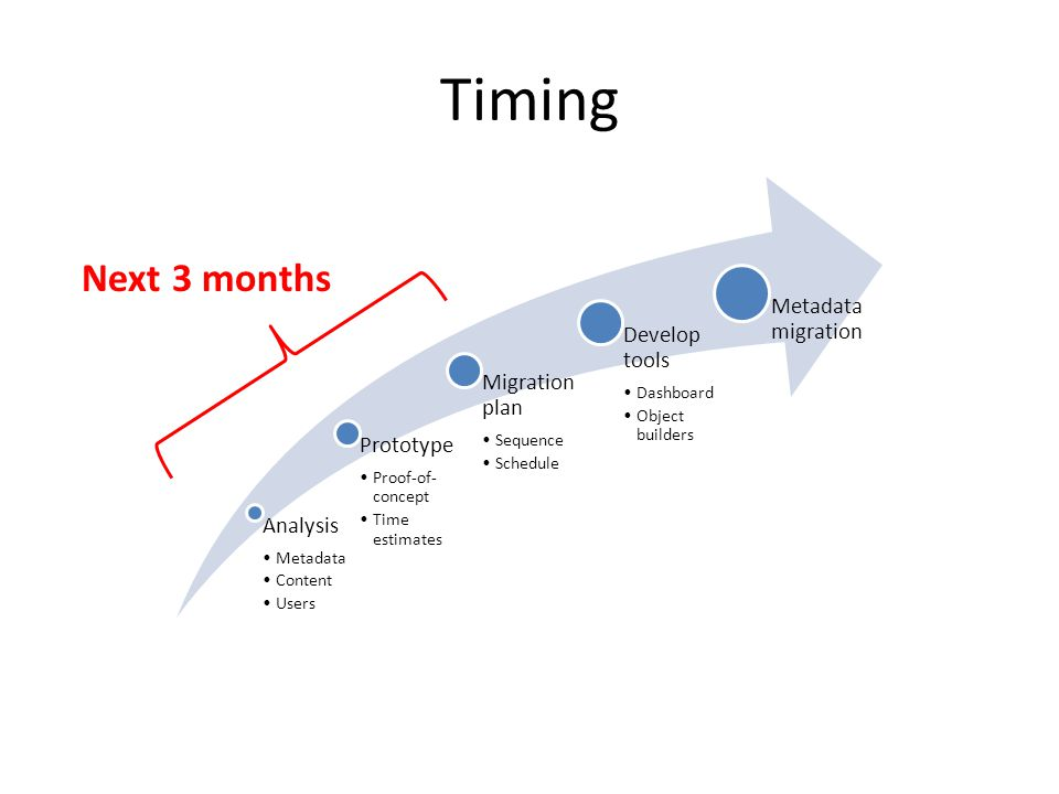 Timing Analysis Metadata Content Users Prototype Proof-of- concept Time estimates Migration plan Sequence Schedule Develop tools Dashboard Object builders Metadata migration Next 3 months
