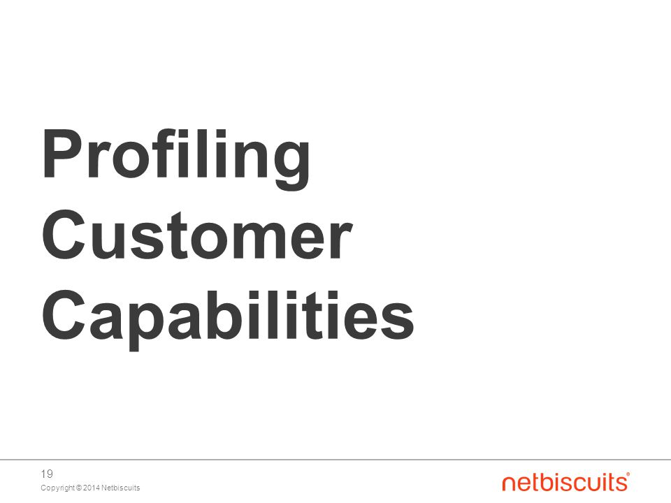 Copyright © 2014 Netbiscuits 19 Profiling Customer Capabilities