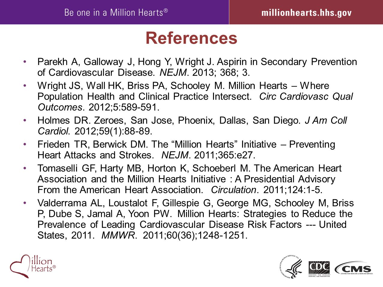 References Parekh A, Galloway J, Hong Y, Wright J. Aspirin in Secondary Prevention of Cardiovascular Disease. NEJM. 2013; 368; 3. Wright JS, Wall HK,