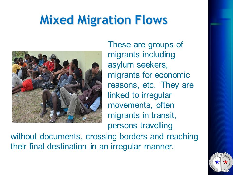 Mixed Migration Flows These are groups of migrants including asylum seekers, migrants for economic reasons, etc. They are linked to irregular movement