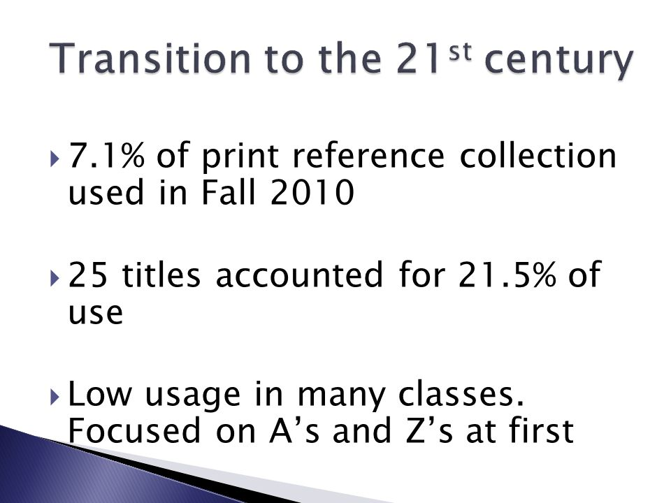 7.1% of print reference collection used in Fall 2010  25 titles accounted for 21.5% of use  Low usage in many classes.