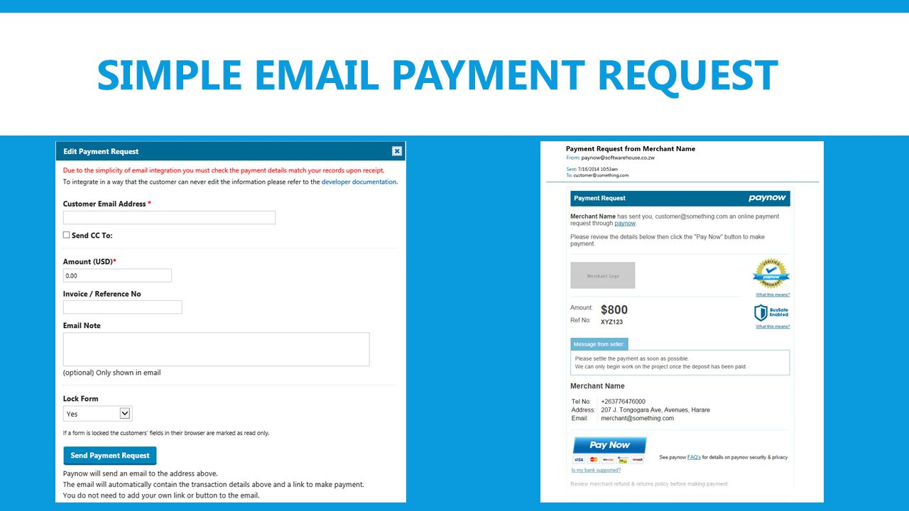 SIMPLE EMAIL PAYMENT REQUEST