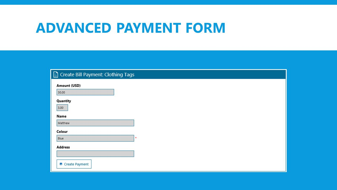 ADVANCED PAYMENT FORM