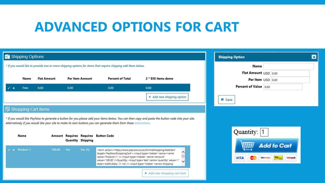 ADVANCED OPTIONS FOR CART