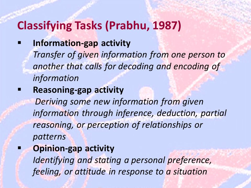 Classifying Tasks (Prabhu, 1987)  Information-gap activity Transfer of given information from one person to another that calls for decoding and encoding of information  Reasoning-gap activity Deriving some new information from given information through inference, deduction, partial reasoning, or perception of relationships or patterns  Opinion-gap activity Identifying and stating a personal preference, feeling, or attitude in response to a situation