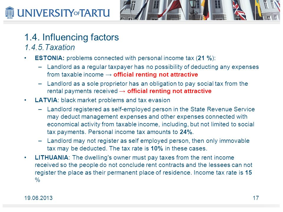 1.4. Influencing factors 1.4.5.Taxation ESTONIA: problems connected with personal income tax (21 %): –Landlord as a regular taxpayer has no possibilit