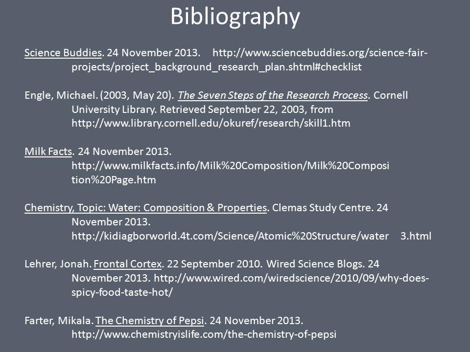 Bibliography Science Buddies. 24 November 2013.