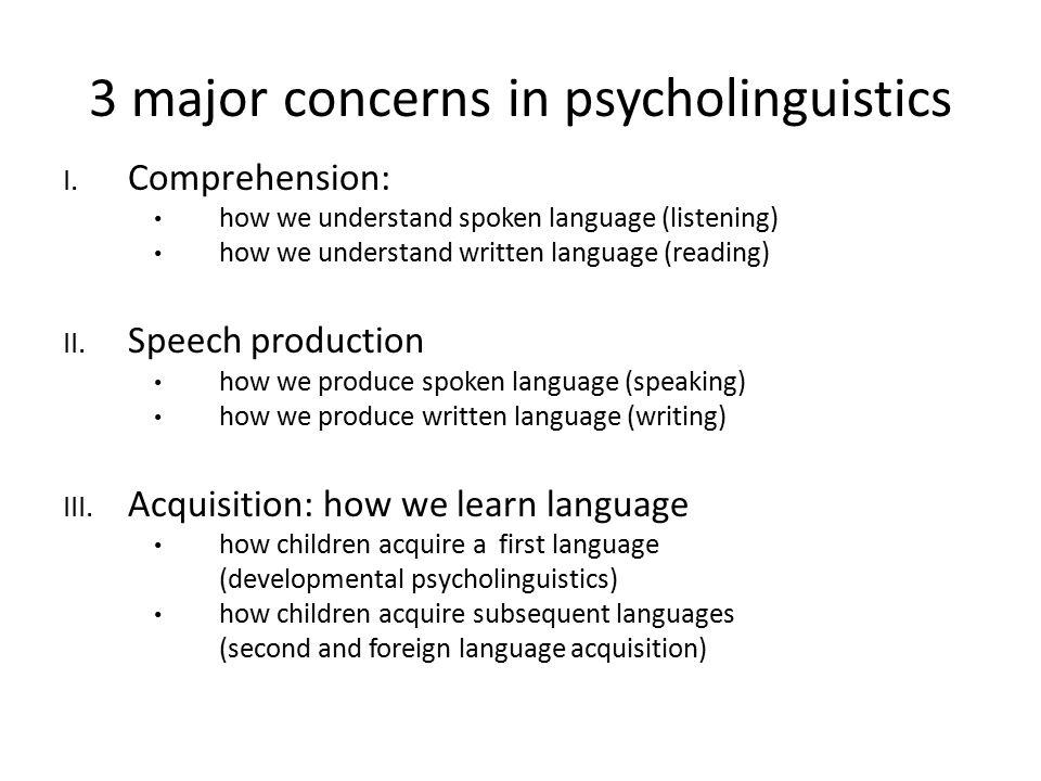 3 major concerns in psycholinguistics I. Comprehension: how we understand spoken language (listening) how we understand written language (reading) II.