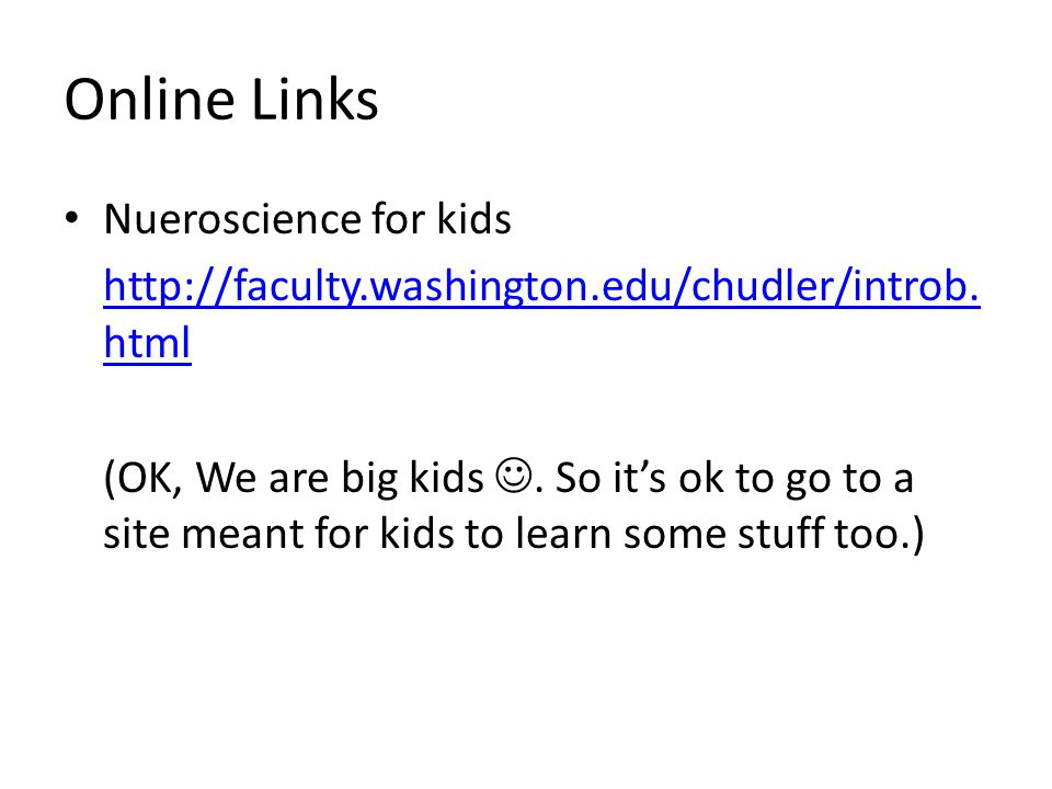 Online Links Nueroscience for kids http://faculty.washington.edu/chudler/introb. html (OK, We are big kids. So it's ok to go to a site meant for kids