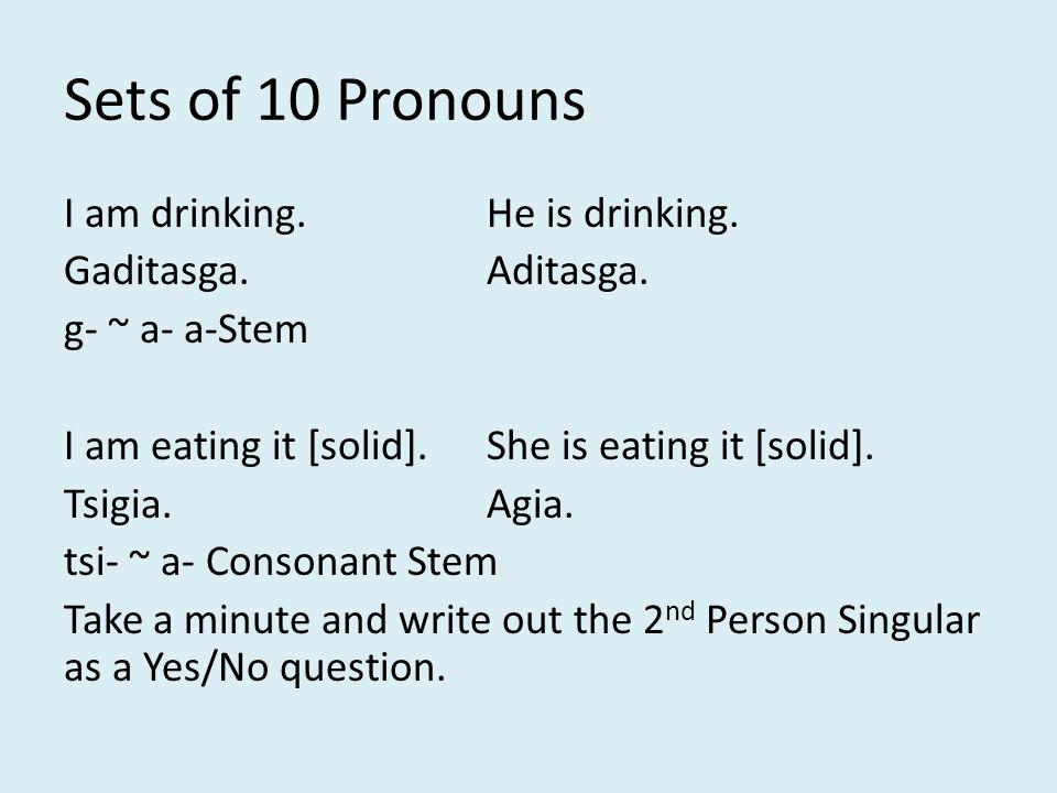 Sets of 10 Pronouns Haditasgatsu?Are you drinking.
