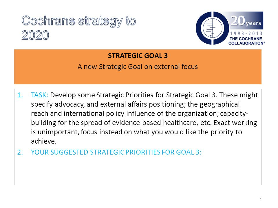 STRATEGIC GOAL 3 A new Strategic Goal on external focus 1.TASK: Develop some Strategic Priorities for Strategic Goal 3.