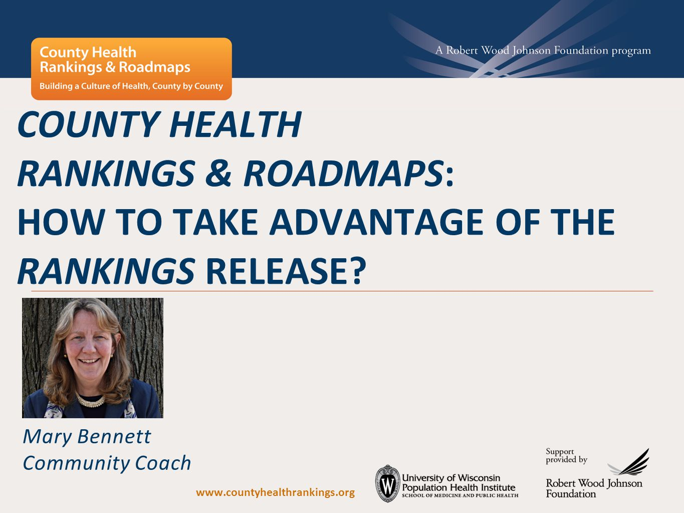County Health Rankings & Roadmaps is a collaboration between the Robert Wood Johnson Foundation and the University of Wisconsin Population Health Institute.