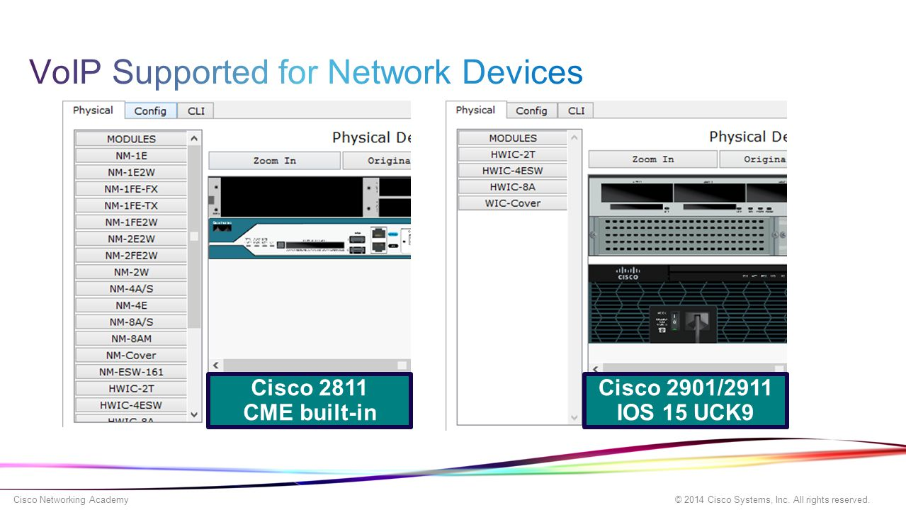 © 2014 Cisco Systems, Inc. All rights reserved. Cisco Networking Academy Cisco 2811 CME built-in Cisco 2901/2911 IOS 15 UCK9