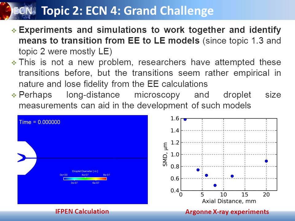 ECN 3 – Synthesis of Topic 2 9 April 4 th 2014 Topic 2: RECOMMENDATIONS FOR ECN  3 SIMULATIONS A more accurate chemistry model is needed –Subtopic for ECN4.