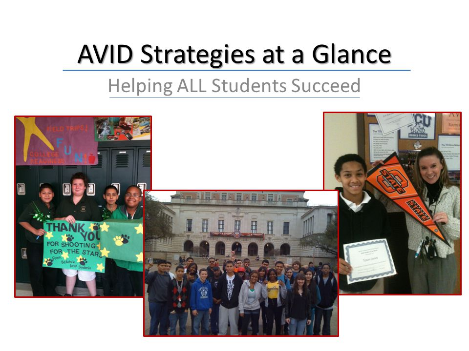 AVID Strategies at a Glance Helping ALL Students Succeed