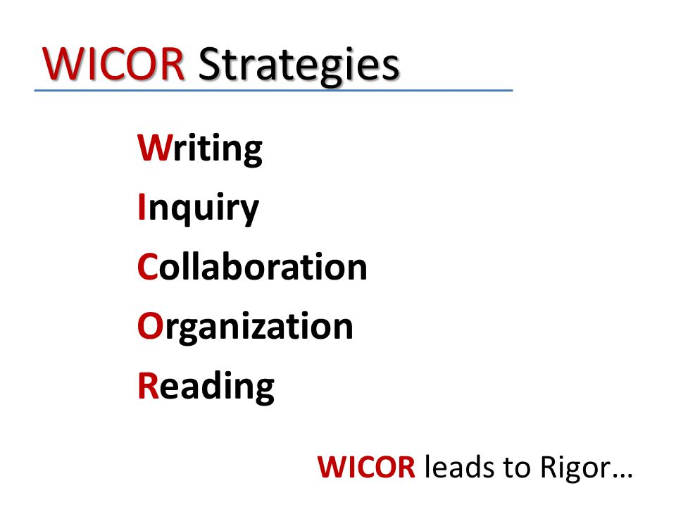 WICOR Strategies Writing Inquiry Collaboration Organization Reading WICOR leads to Rigor…