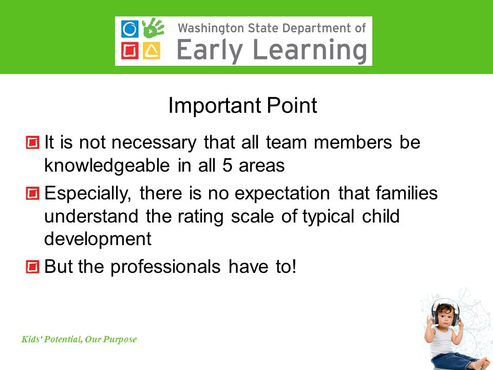 Important Point It is not necessary that all team members be knowledgeable in all 5 areas Especially, there is no expectation that families understand