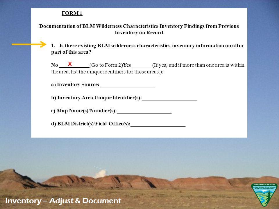LWC Documentation Appendix B, Form 1 Inventory – Adjust & Document