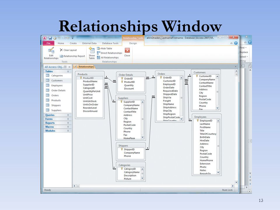 Relationships Window 13
