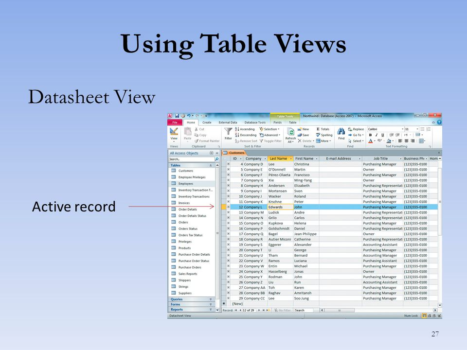 Using Table Views Datasheet View 27 Active record