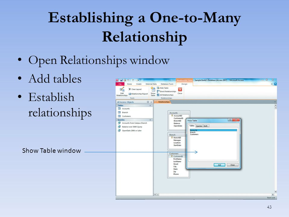 Establishing a One-to-Many Relationship Open Relationships window Add tables Establish relationships 43 Show Table window