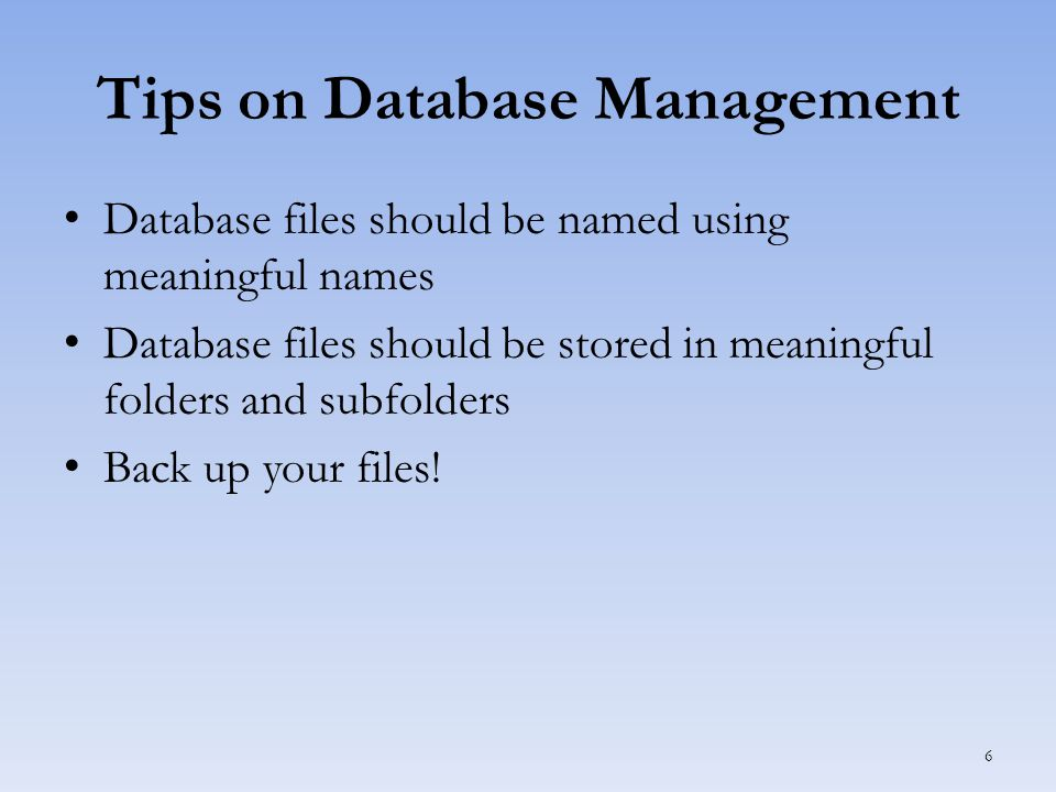 Compacting & Repairing a Database Access databases increase in size over time Compacting – Avoids loss of data – Recovers unclaimed space – Defragments fragmented databases – Repairs corrupt databases 7