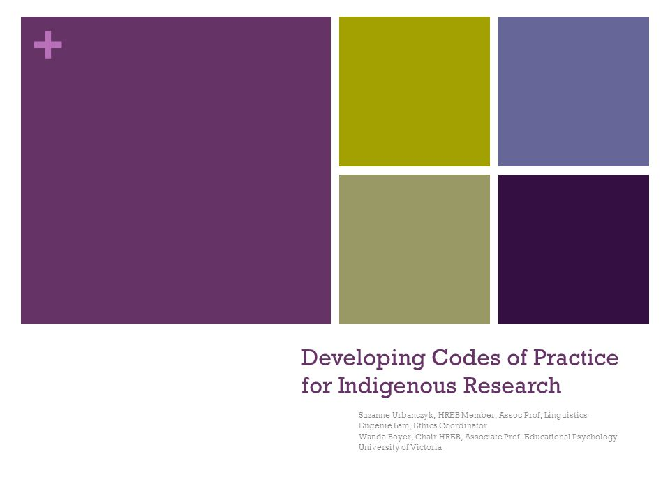 + Developing Codes of Practice for Indigenous Research Suzanne Urbanczyk, HREB Member, Assoc Prof, Linguistics Eugenie Lam, Ethics Coordinator Wanda Boyer, Chair HREB, Associate Prof.